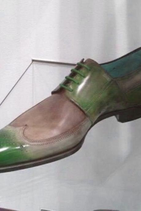 Men's Green Beige Oxford Patina Brogue Genuine Leather Handcrafted Unique Dress Shoes