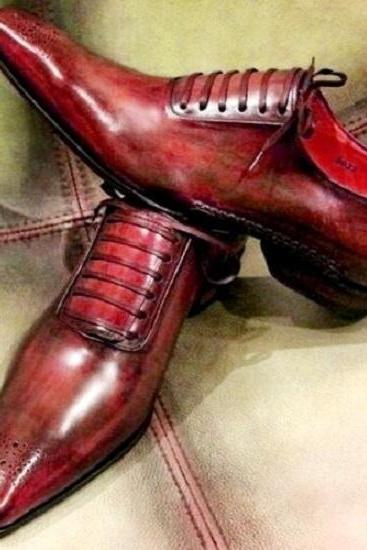 Made To Order Maroon Oxford Patina Brogue Pointed Toe Lace Up Vintage Leather Unique Shoes