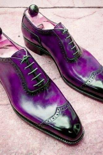 Made To Order Purple Oxford Burnished Derby Lace Up Real leather Handmade Men's Shoes