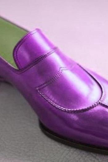 Made To Order Men's Purple Moccasin Loafer Slips On Derby Split Toe Genuine leather Unique Shoes