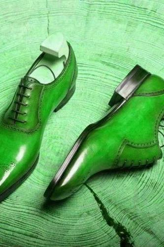 Men's Green Oxford Derby Plain Toe Patina Genuine Leather Handcrafted Classic Dress Shoes