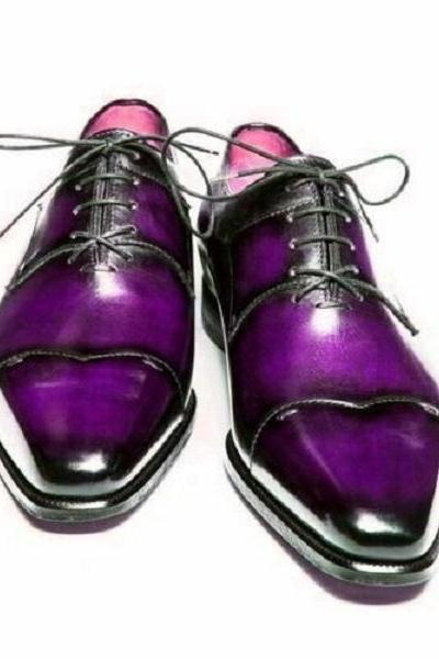 Men's Purple Derby Cut Toe Patina Lace Up Vintage Leather Handcrafted Magnificent Dress Shoes