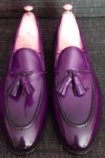Purple Loafer Tassels Slips On Patent Real Leather Handcrafted Men's Luxury Dress Shoes