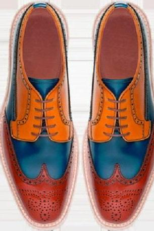 Men's Multi Color Oxford Brogue Lace Up Wingtip Genuine Leather Handmade Dress Shoes