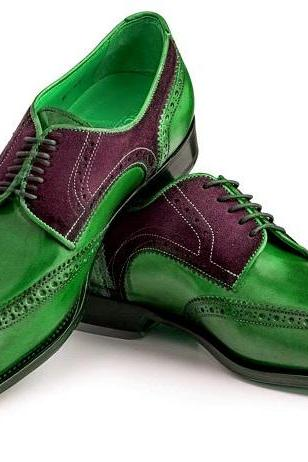 Two Tone Green Maroon Oxford Wingtip Genuine Leather Handcrafted Men's Classic Dress Shoes