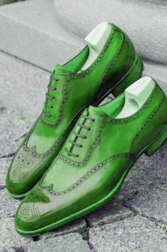 Green Oxford Brogue Wingtip Toe Formal Dress Classic Handmade Leather Dress Shoes