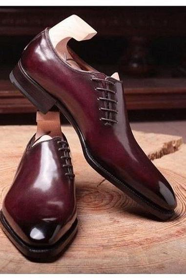 Men's Maroon Plain Derby Toe Matching Sole Genuine Leather Handmade Luxury Shoes