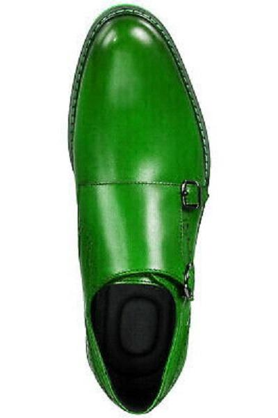 Made To Order Monks Green Derby Buckle Strap Magnificent Leather Handcrafted Shoes