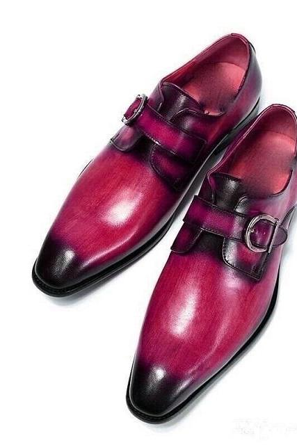 Two Tone Monks Red Black Patina Derby Toe Buckle Strap Real Leather Magnificent Unique Dress Shoes