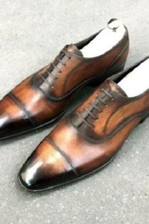 Brown Black Patina Oxford Derby Cap Toe Vintage Leather Handmade Men's Lace Up Shoes
