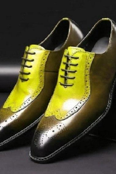 Two Tone Yellow Brown Oxford Brogue Wingtip Formal Dress Real Leather Men's Fashion Shoes