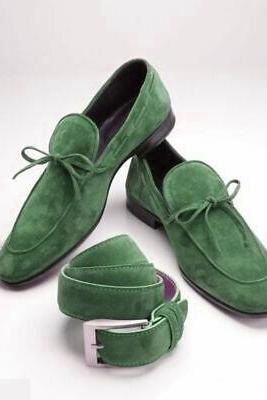 Men's Green Moccasin Loafer Slips On Suede Laces Genuine Leather Handcrafted Classic Dress Shoes