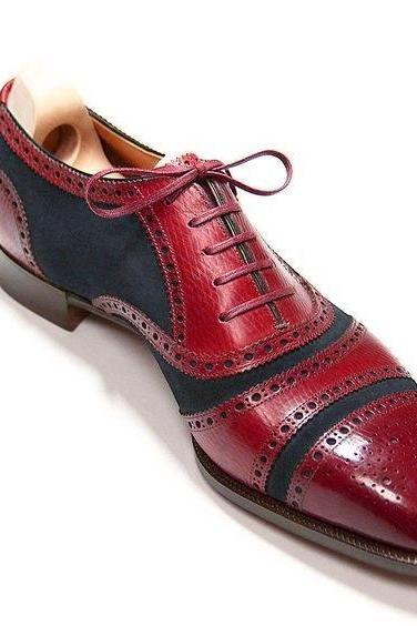 Two Tone Oxford Red Black Brogue Whole Cut Men's Handmade Leather Fashionable Dress Shoes