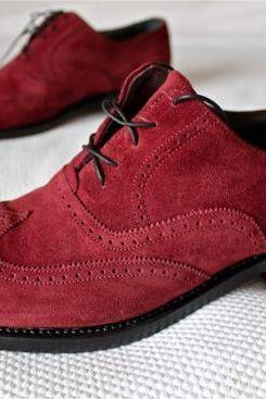 Comfort Shoe Closet Burning Red Pure Suede Leather Men Wedding Shoes