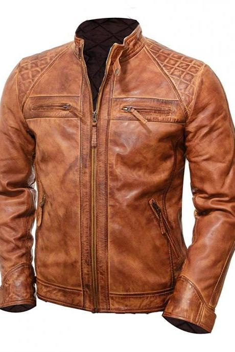 Handmade Saddle Brown NWT Classic Design Zipper Pockets Perforated Design Real Leather Jacket