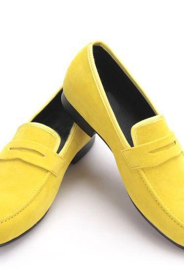 Turbo Yellow Penny Loafer Moc Toe Stable Real Leather Men Party Shoes