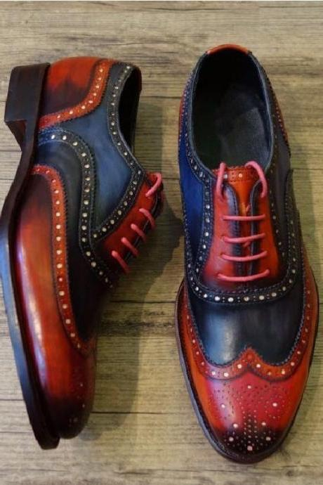 Customize Two Tone Full Brogue Medallion Oxford Real Leather Men Party Shoes