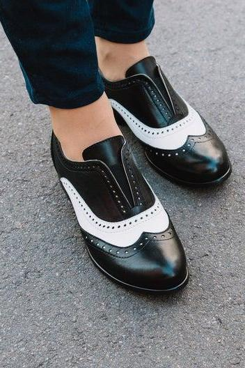 Two Tone Spectator Medallion Wingtip,Full Brogue Shape,Real Leather,Women Formal Shoes