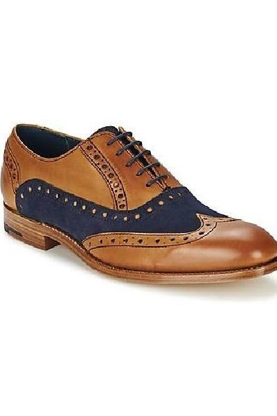 Nice Pair Tan Brown,Denim Blue Wingtip Balmoral Quarter Suede Men Formal Leather Shoes