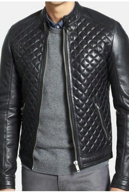 Customize Black Color Stand up Collar Quilted Style Zipper Pockets Men Leather Jacket