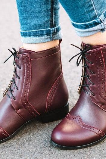 Customize Burgundy Color Wingtip Back Pull Women Genuine Leather High Ankle Boots