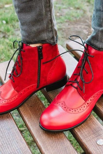 Two Tone Women Red Suede Derby Toe Wingtip Lace Up Luxury Customized Ankle Dress Boots