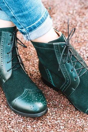 Two Tone Green Suede Brogue Wingtip Formal Dress Lace Up Women High Ankle Spectator Leather Shoes