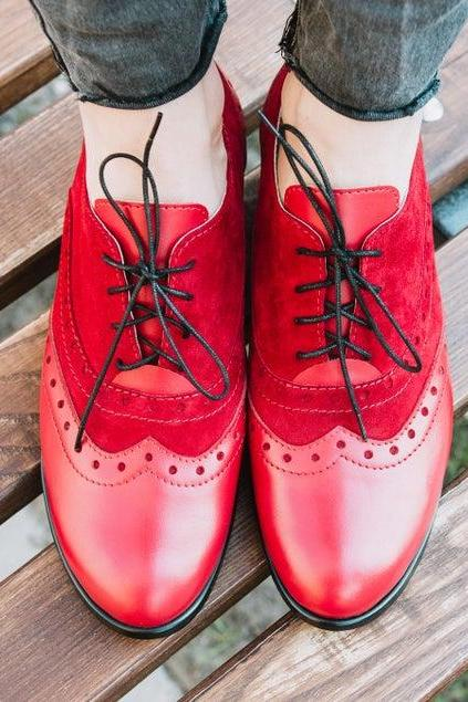 Two Tone Red Oxford Suede Derby Wingtip Lace Up Handcrafted Women Fashion Shoes