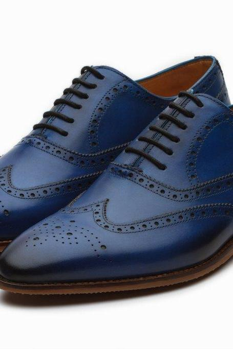 Made To Order Men's Blue Brogue Burnished Handmade Oxford Real Leather Classic Dress Shoes