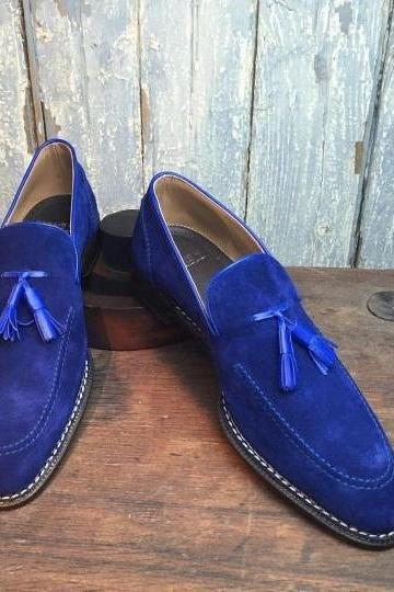 New Blue Suede Tassels Loafer Slips On Handcrafted Men's Customized Dress Shoes