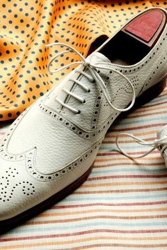 White Oxford Medallion Toe Wingtip Oxford Lace Up Formal Business Dress Men's Leather Shoes