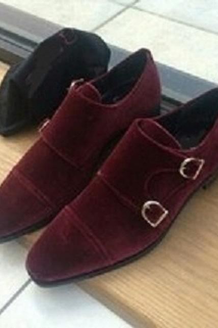Men's Burgundy Monks Double Buckle Strap Suede Leather Handcrafted Unique Attractive Dress Shoes
