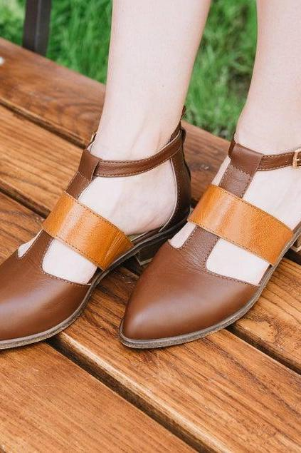Women's Monk Brown Pulse Orange Pointed Toe Handmade Leather Attractive Sandals