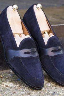 Made To Order Men's Navy Blue Penny Loafer Moccasin Slips On Suede Leather Classic Casual Wear Men's Shoes