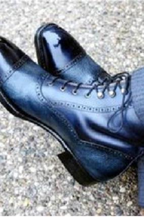 Blue Men's Ankle High Genuine Leather Formal Classic Handmade Men's Dress Boots