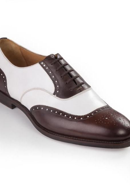Two Tone White Brown Men's Oxford Brogue Classic Real Leather Dress Shoes