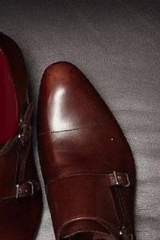 Burgundy Monks Double Buckle Strap Leather Handcrafted Men's Magnificent Dress Shoes
