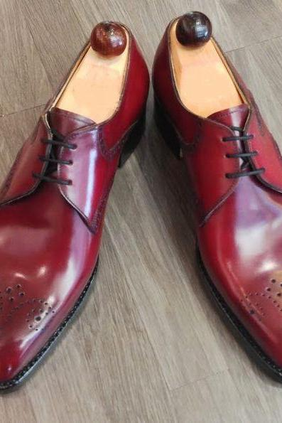 Men Burgundy Oxford Medallion Black Sole Leather Formal Customized Shoes