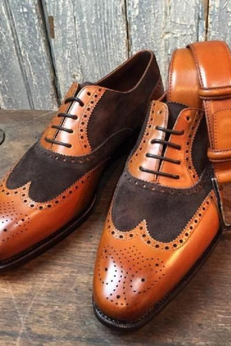 Two Tone Tan Brown Oxford Brogue Wingtip Premium Quality Leather Men's Superior Dress Shoes
