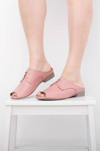 Pink Women Peep Toe Real Leather Handmade Unique Fashion Sandals