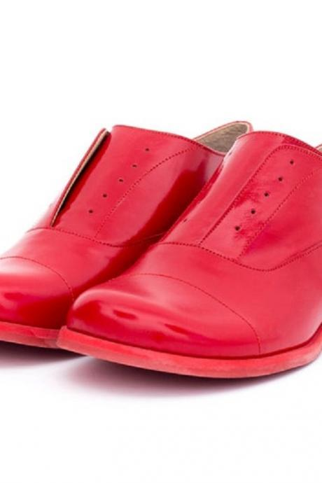 Made To Order Women Oxford Red Derby Matching Sole Premium Quality Leather Party Wear Shoes