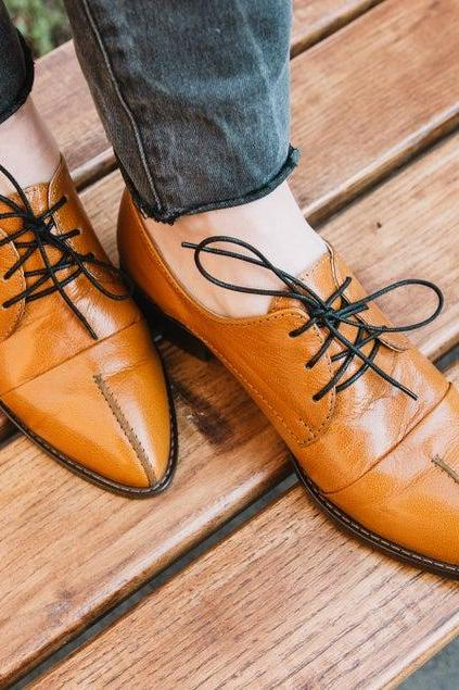 Women Oxford Burnt Orange Derby Split Toe Handmade Leather Lace Up Shoes