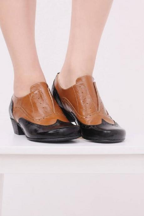 Two Tone Brown Black Oxford Derby Wingtip Chunky Heel Genuine Leather Classic Shoes