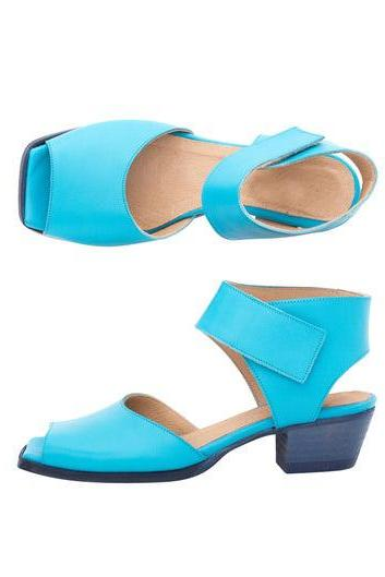 Women Turquoise Blue Low Cuban Low Heel Open Toe Vintage Leather Handmade Stylish Sandals