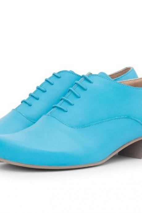Made To Order Women Light Blue Oxford Chunky Heel Wide Matching Laces Leather Shoes