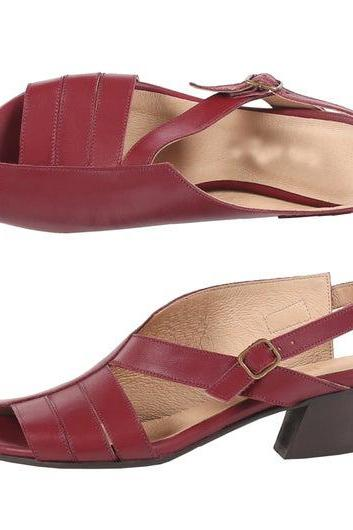 Burgundy Women Open Toe Cuban Heel Slingbacks Metal Buckle Leather Attractive Sandals