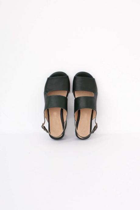 Two Tone Black Blue Open Toe Cutout Real Leather Handmade Women Stylish Sandals
