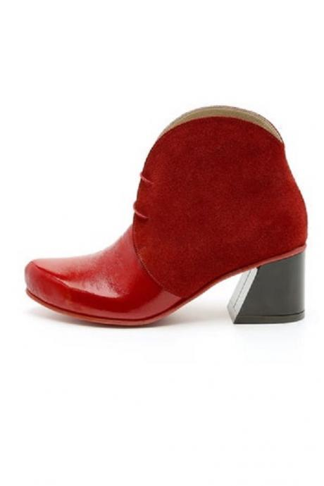 Women Red Derby Toe High Ankle Block Heel Genuine Leather Magnificent Handmade Party Wear Boot