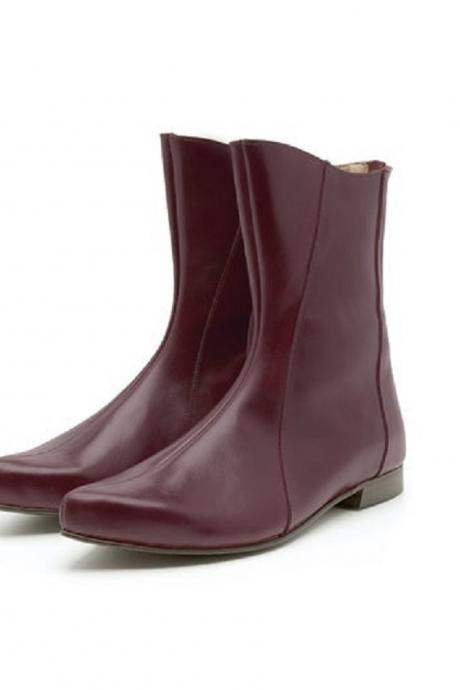 Women Maroon Derby Flat Vintage Leather High Ankle Elegant Dress Handmade Boots