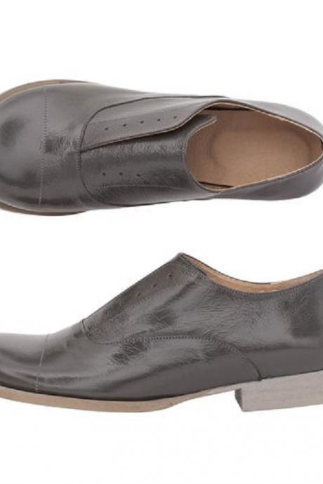 Gray Oxford Derby Lace Up Real Leather Handmade Women's Formal Dress Shoes